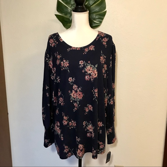 Angels Forever Young Navy Floral Sweater 2X NWT